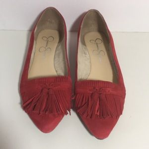 Red Suede Pointy Toe Flats 7